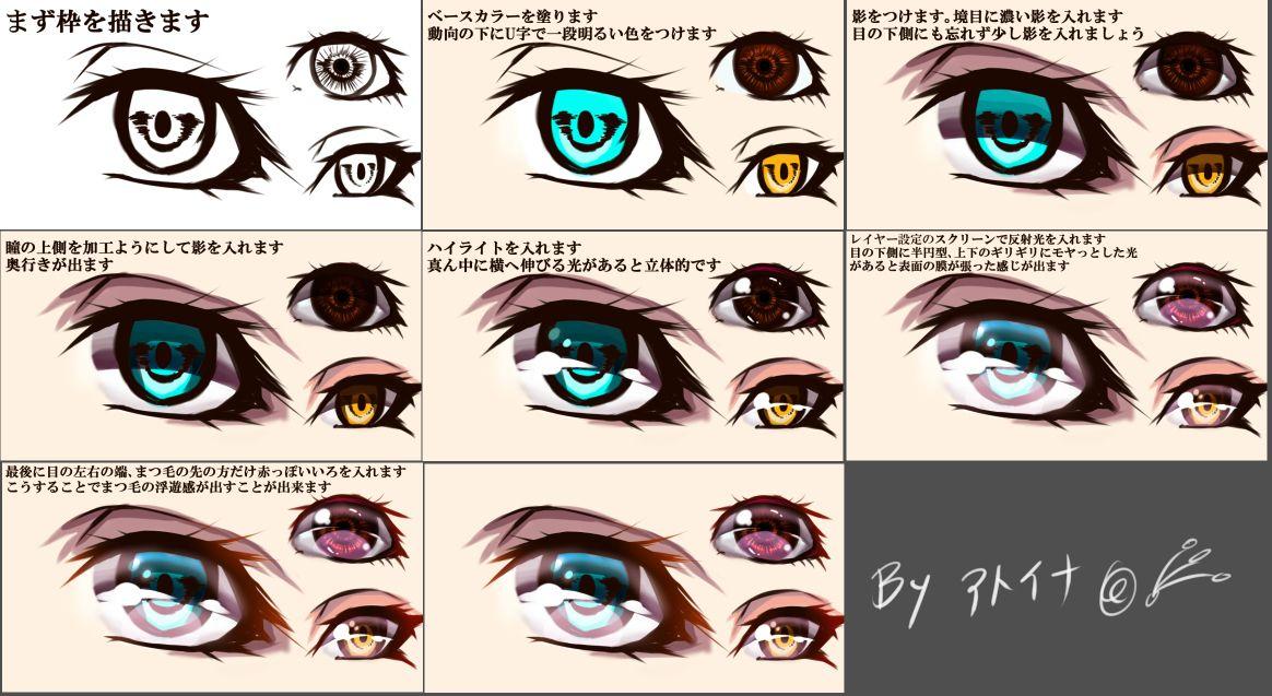 簡単なちょっと大人っぽい目の描き方 7工程 1 目 描き方 イラスト キャラクターのスケッチ