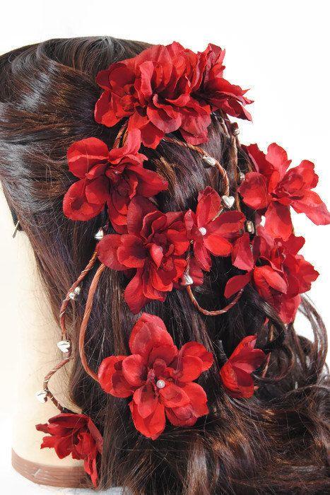 rote blumen haar kamm rote braut haarteil von twobrightstars