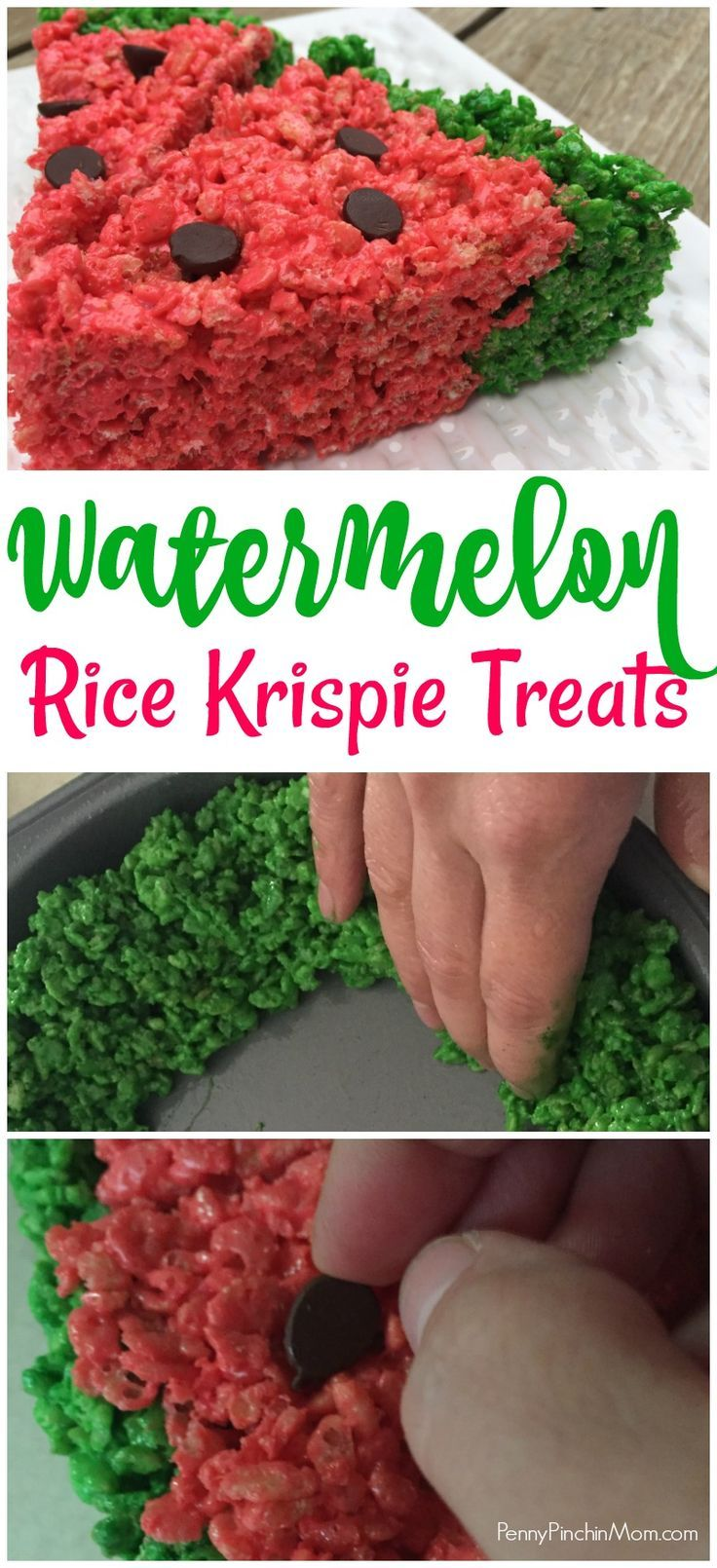 Watermelon Rice Krispie Treats #summerfunideasforkids