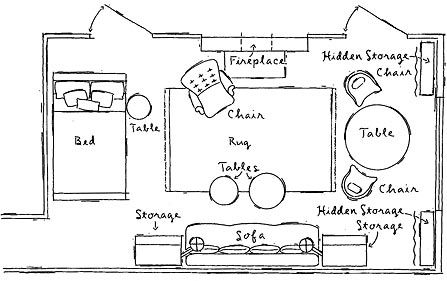 """Also included in the efficient floorplan was turning the bed length-ways along the wall and 4 different places to store items. """"Turning the bed so that the long side is against a wall—allowing it to function more like a daybed—frees up precious square footage and gives the place an airier feel."""""""