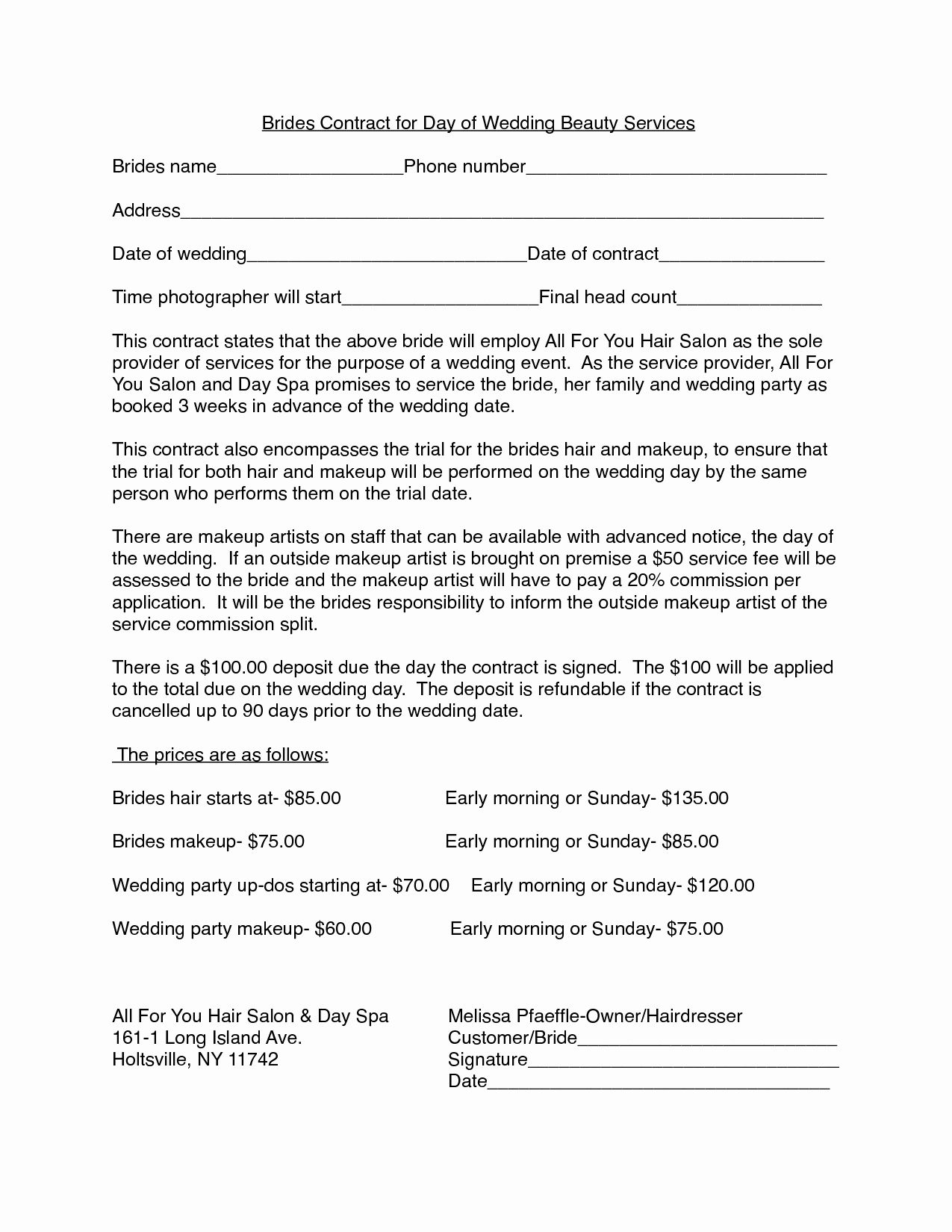 Hair Stylist Contract for Wedding Unique Hair Stylist