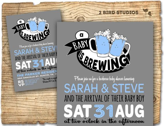 BaBy Q Beer Baby Shower Invitation   BaBy Q Baby Shower Invite  Coed  Barbecue Couples Printable Baby Shower Invitation