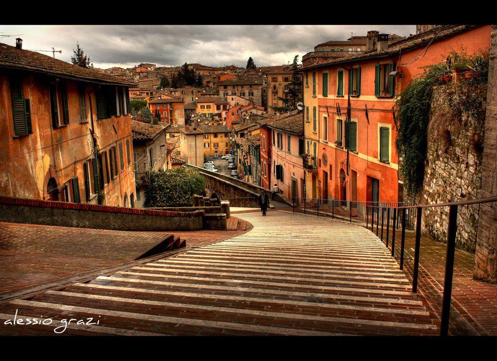 Perugia Italia Le scale di Via dell'Acquedotto (Via