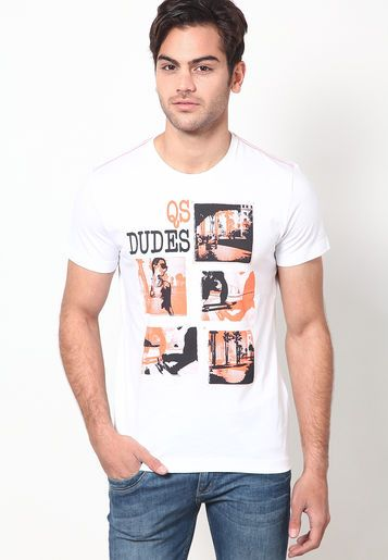 White Printed Round Neck T Shirts S Oliver Shirt Online T Shirt