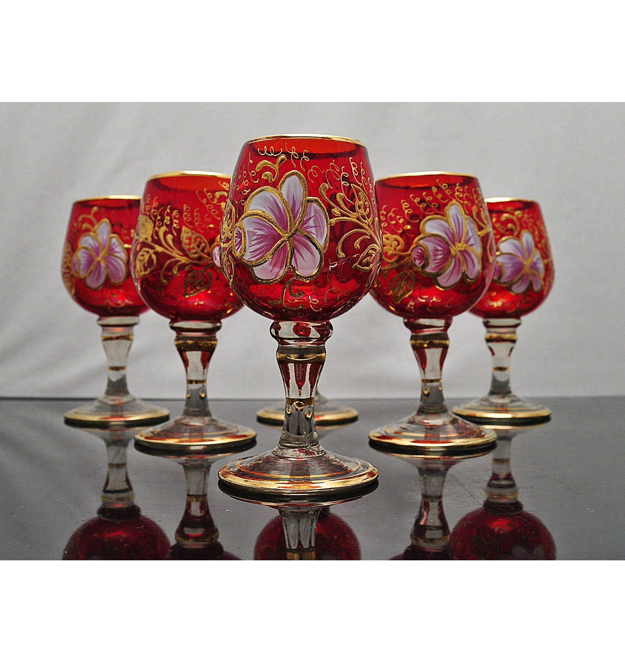 Vintage Czech Bohemian Red Gold Hand Painted Enamelled Wine Goblets Set Of Six By Glasseclecticshop On Etsy In 2020 Gold Hands Wine Goblets Glass Set