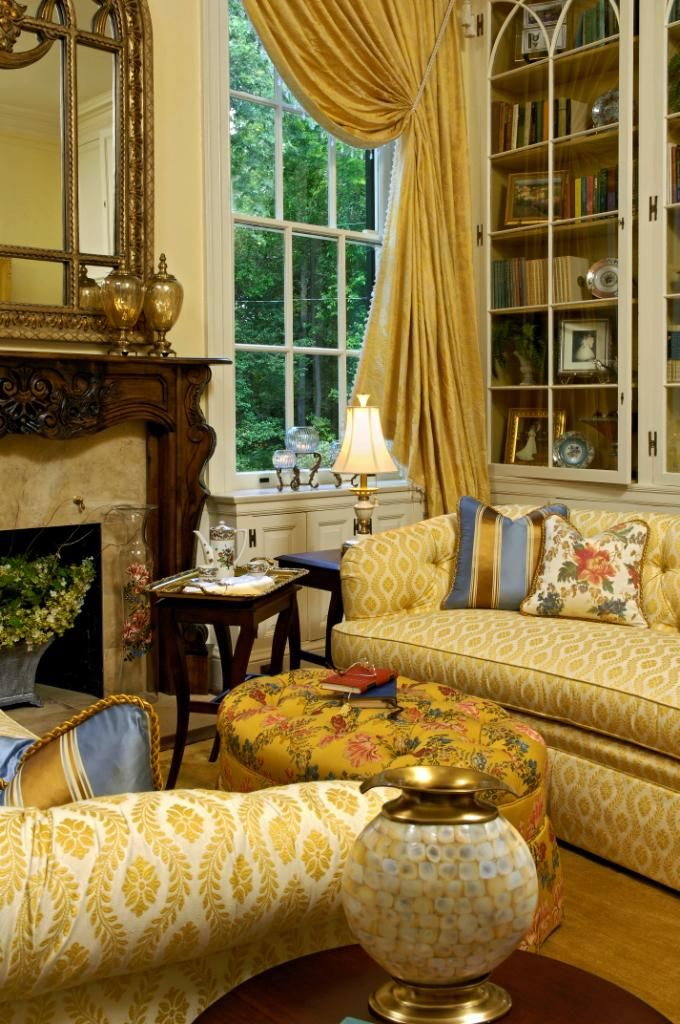 Lavish traditional living room. Many lovely patterns. Arts Council ...