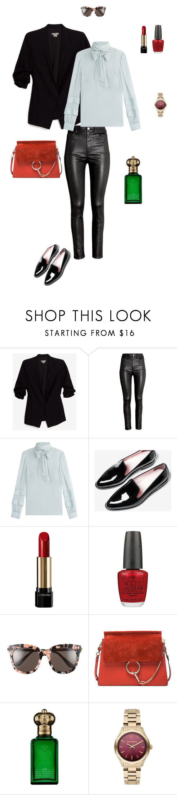 """silk blouse"" by ulusia-1 ❤ liked on Polyvore featuring Helmut by Helmut Lang, H&M, RED Valentino, Lancôme, OPI, Gentle Monster, Chloé, Clive Christian and Karl Lagerfeld"