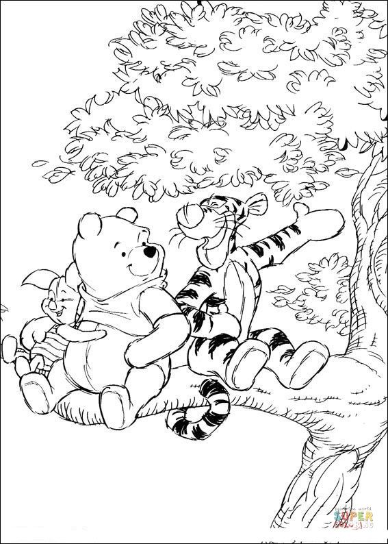 Winnie The Pooh And Tigger On The Tree Disney Coloring Pages Winnie The Pooh Drawing Cartoon Coloring Pages