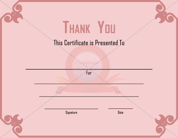 Thank you Certificates THANK YOU CERTIFICATE TEMPLATES – Thank You Certificate Template