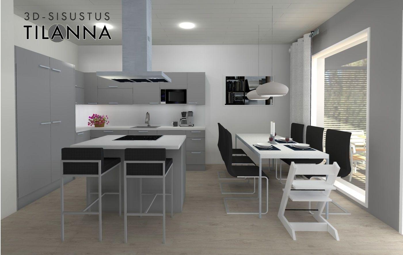 3D  stailaus ja sisustussuunnittelu  moderni harmaa keittiö, valkoiset taso