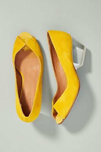 2137b734ffb Emma Go Adrienne Lucite Peep Toe Heels