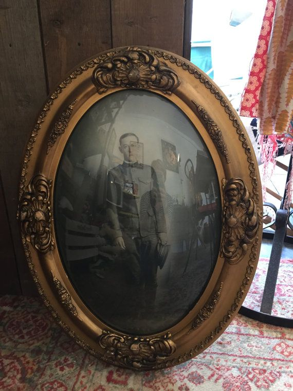 Antique Convex Glass Oval Frame Photograph Bubble Glass With