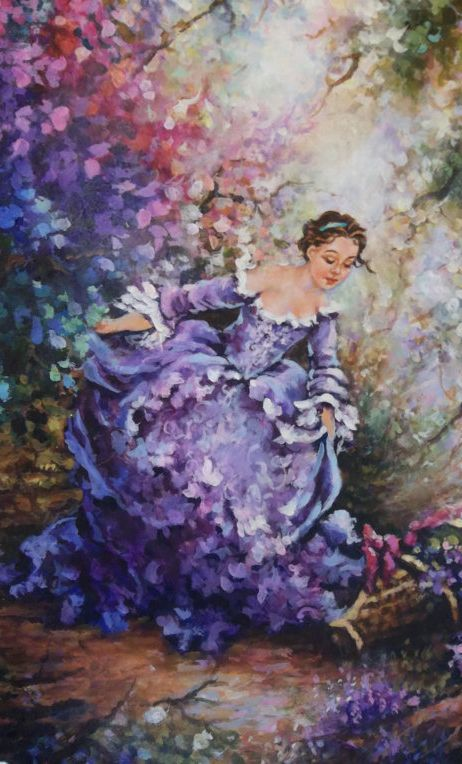 Reserved for Sharon   french rococo handmade Violet original     Rococo Painting of Woman in Garden