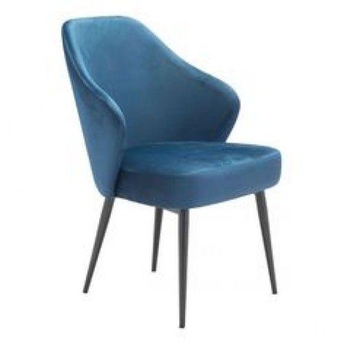 Blue Velvet Mid Century Dining Accent Chair Black Pencil Legs