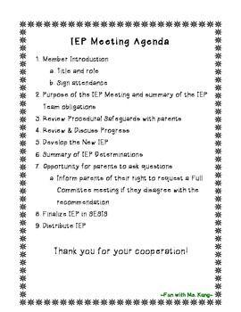Editable Iep Meeting Agenda  Special Education School And Teacher