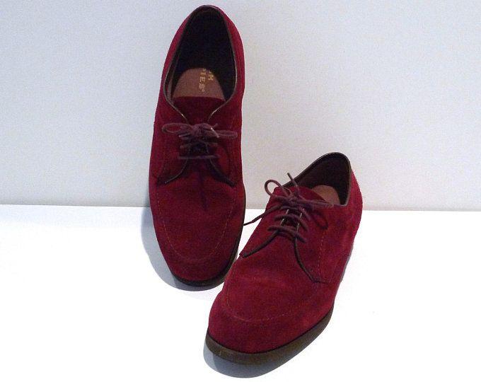 Hush Puppies Shoes Mens Size 8.5 1990s Vintage Burgundy