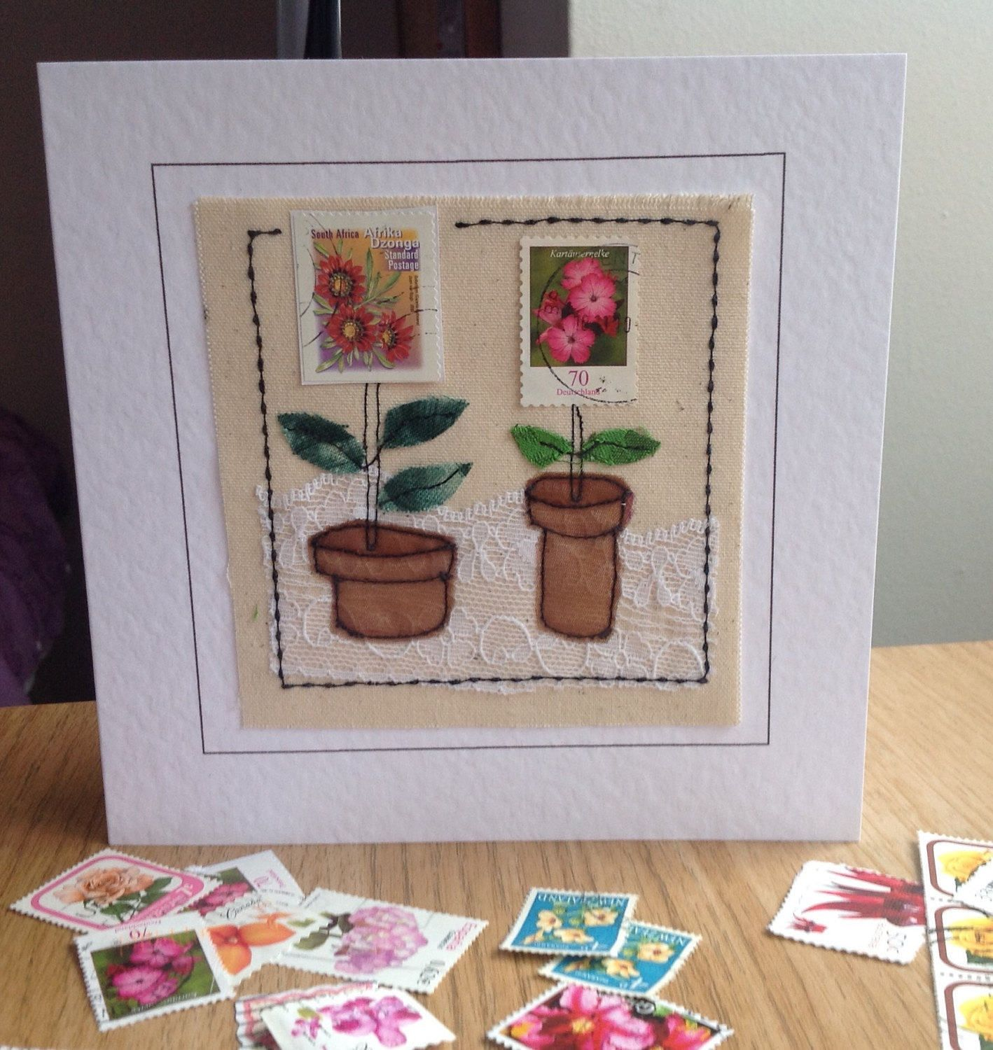 Unique Flower Postage Stamp Greeting Card For Birthday Mothers Day