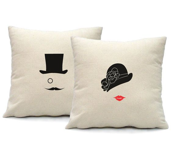 Mr and Mrs Pillow Cover - 16x16 square - set of 2 for His and Her