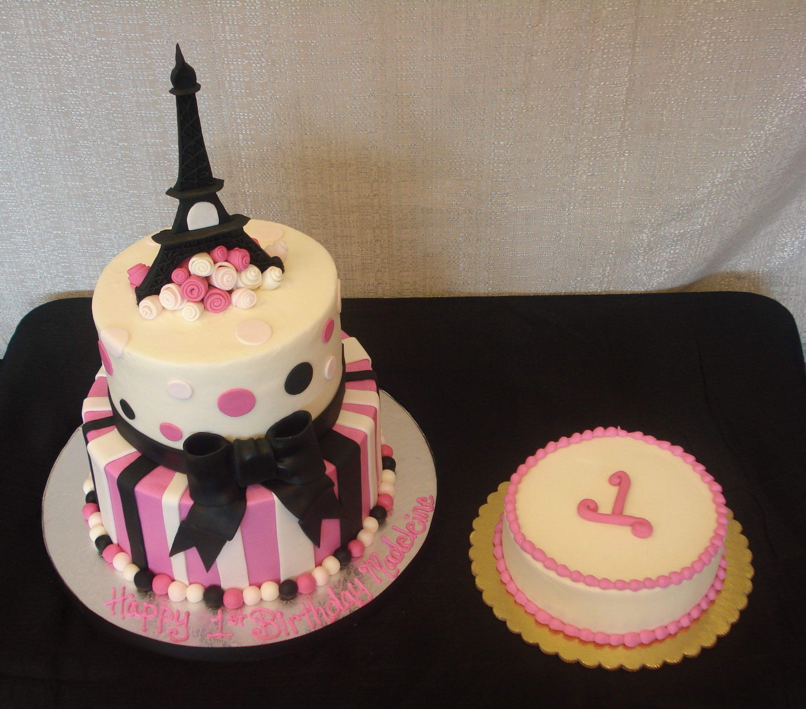 Paris Birthday Cake And Pink Smash For A First Party Flavors Custom Cakes Orlando FL