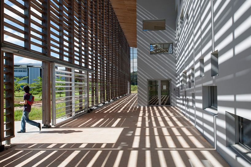 timber frame encloses university library by rh+ architecture