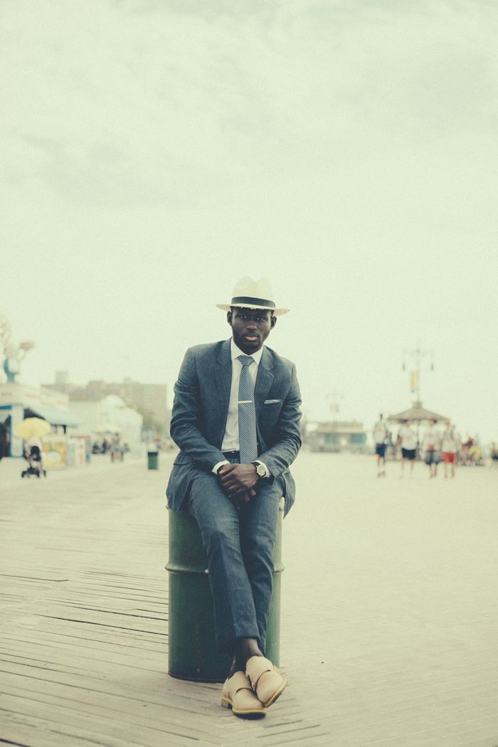 Accessorize your summer linen suits with a tie bar, pocket square and straw hat.