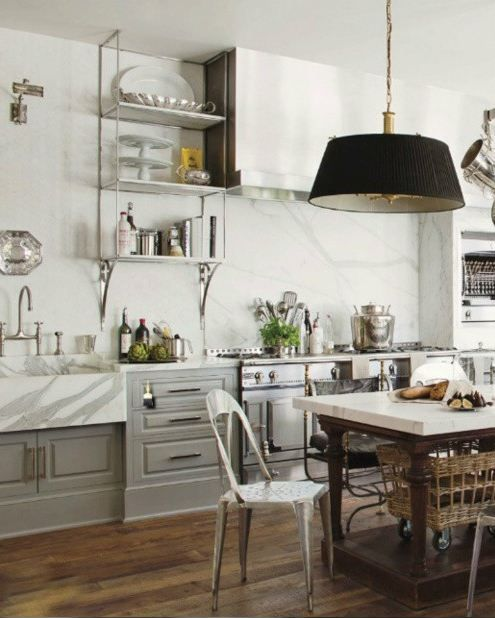 Grey Industrial Kitchen: French Industrial Country Kitchen