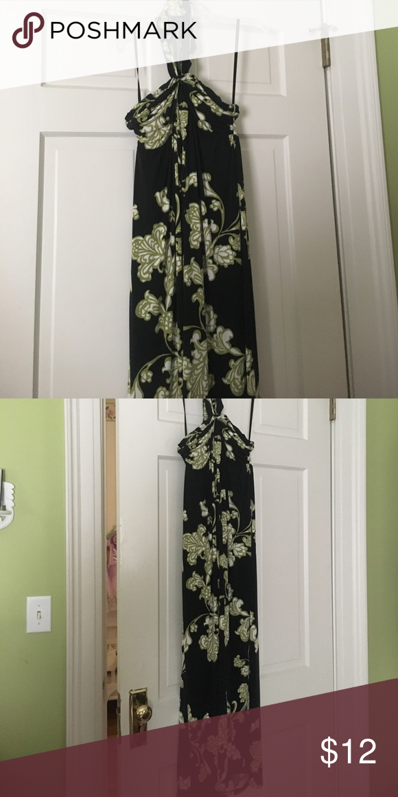 Black and green maxi This dress ties around the neck and is great material for travel! Dresses