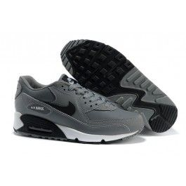 http://www.nkmaxshoes.co.uk/ N2in4 Mens Nike UK - Air Max 90 Essential Leather Cool Grey Black-White