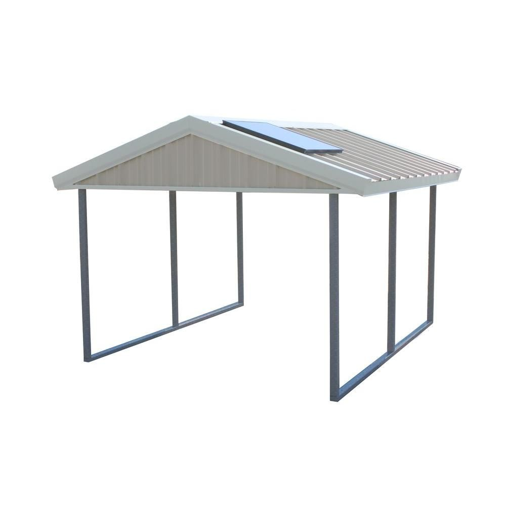 Pws Premium Canopy 10 Ft X 12 Ft Ash Grey And Polar White All Steel Carport Structure With Durable Galvanized Frame S 1012 Pw The Home Depot Steel Carports All Steel Carports Carport Canopy