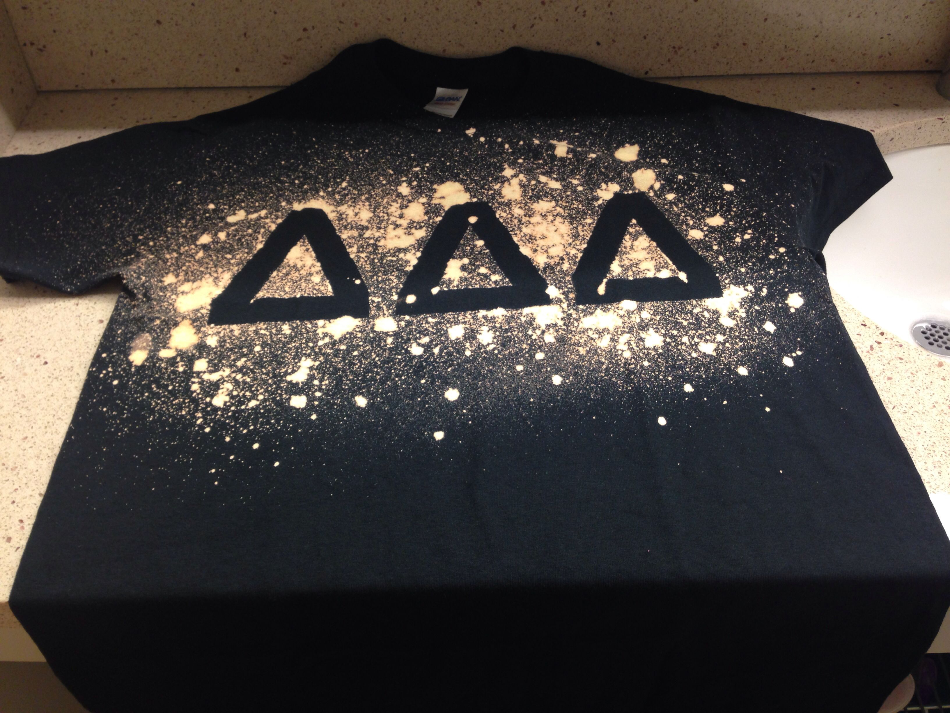 Bleach and masking tape #Tshirt #Sorority #TriDelta