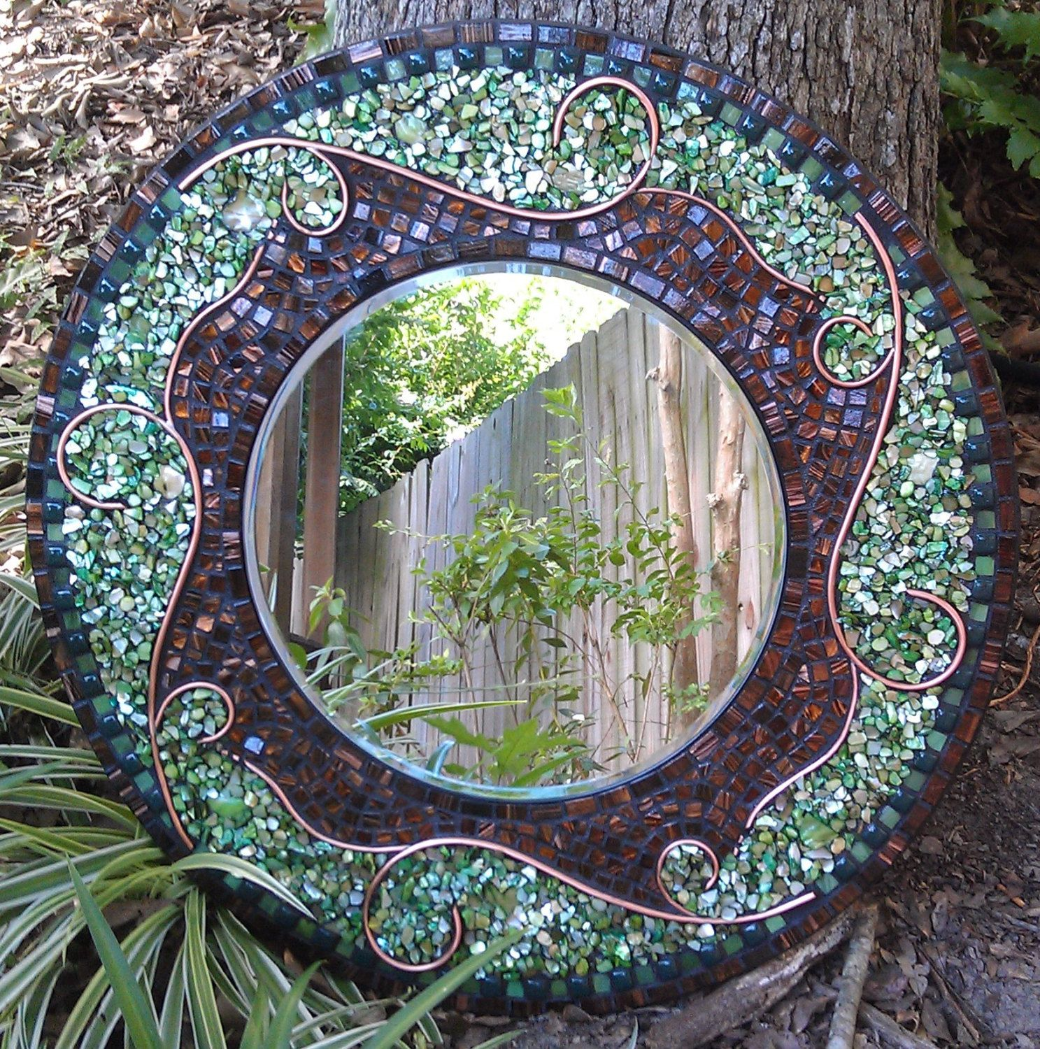 Large Green Mosaic Mirror Beautiful Round By Roxannesmirrors 285 00