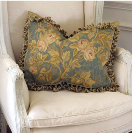 French Blue and Gold Vines Aubusson Pillow - Coach Barn
