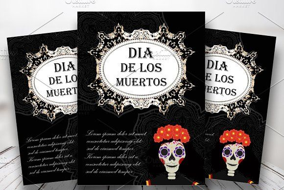 Day of the dead flyer, poster, invitation Dia de Muertos template - Invitation Flyer Template