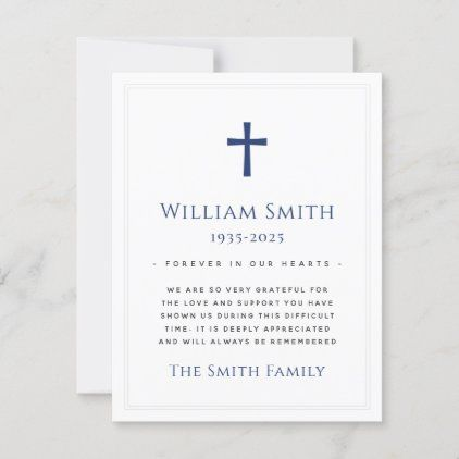 Custom color cross funeral sympathy thank you card