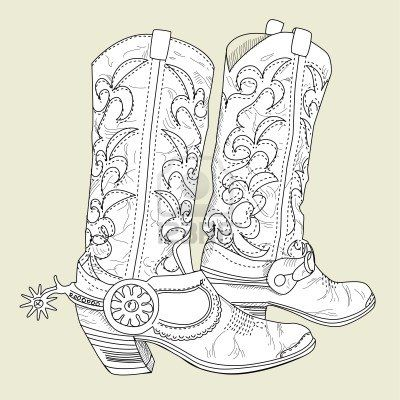 drawing cowboy boots - Google Search | Inspiration Boutique | Pinterest