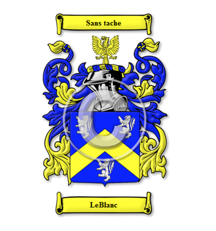 High Quality LeBlanc Family Crest / LeBlanc Coat Of Arms || Image Via House Of Names