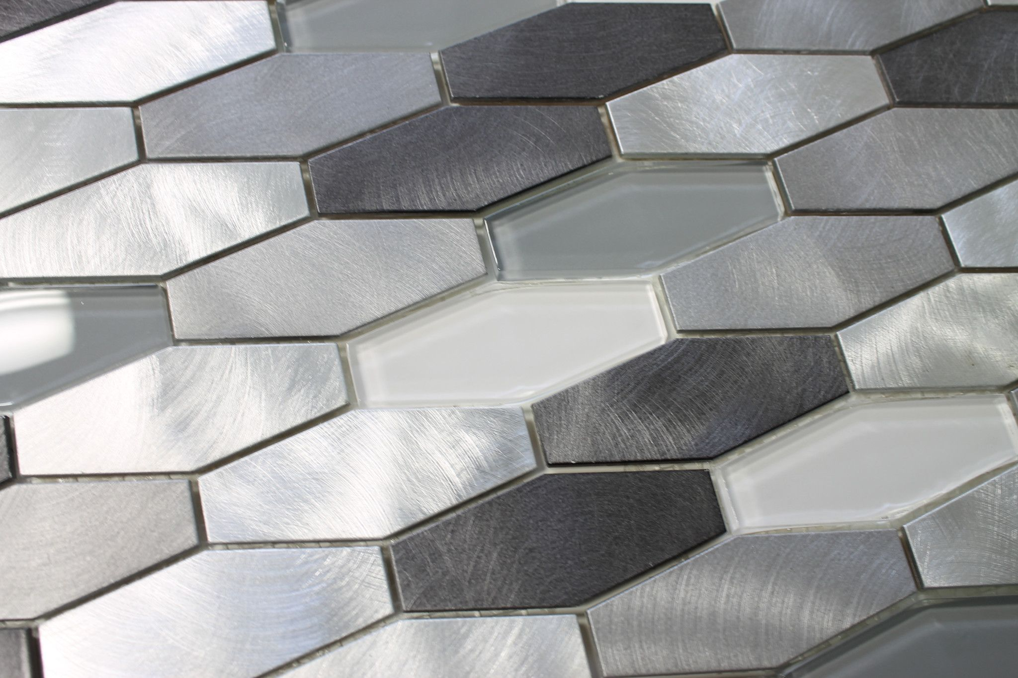 Metro Long Hexagon Brushed Aluminum and Glass Mosaic Tiles
