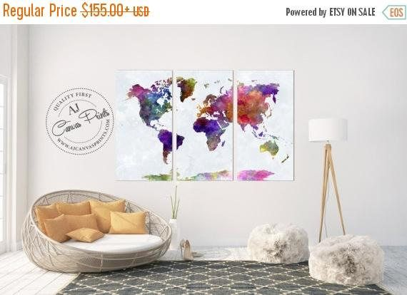 Fall sale large watercolor world map canvas housewarming gift aj fall sale large watercolor world map canvas housewarming gift gumiabroncs Gallery