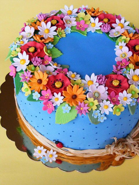 Love the vibrant flowers Happy Cake Fondant flowers variety of