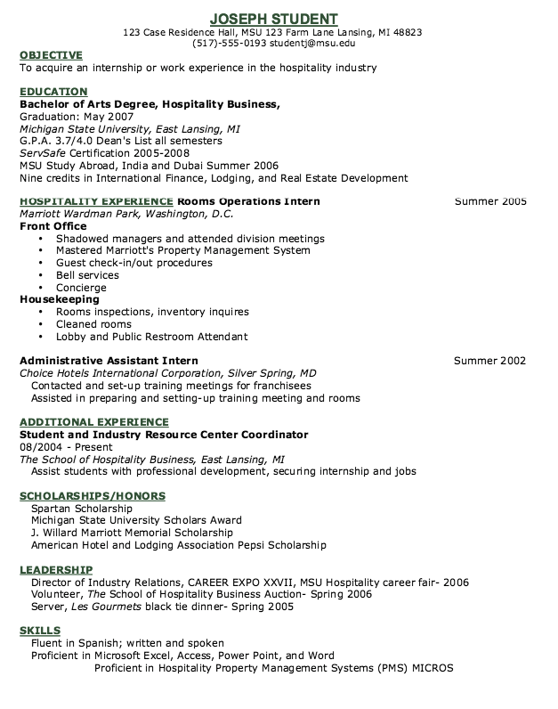 Hotel Concierge Resume Example