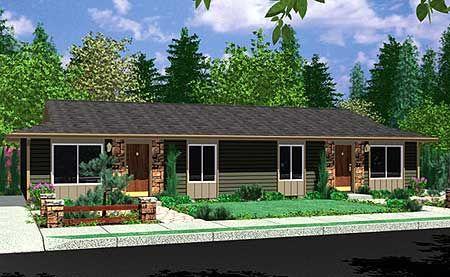 Plan 8150lb Ranch Duplex In 2021 Ranch Style House Plans Duplex Design Duplex House