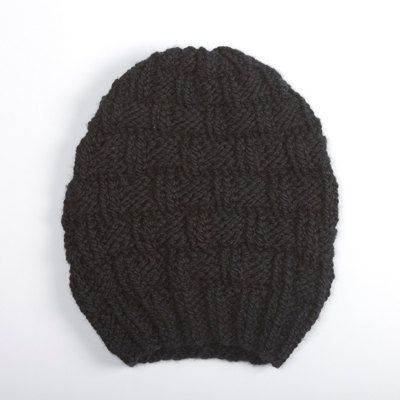 STONE MAXI Black Hand Knit Wool Beanie by RyanDeBonville on Etsy, $60.00