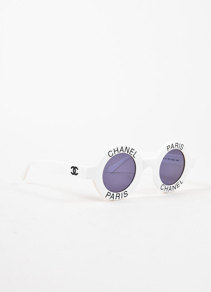 """Chanel White and Black Tinted Lens """"Chanel Paris"""" Circle Frame Sunglasses"""