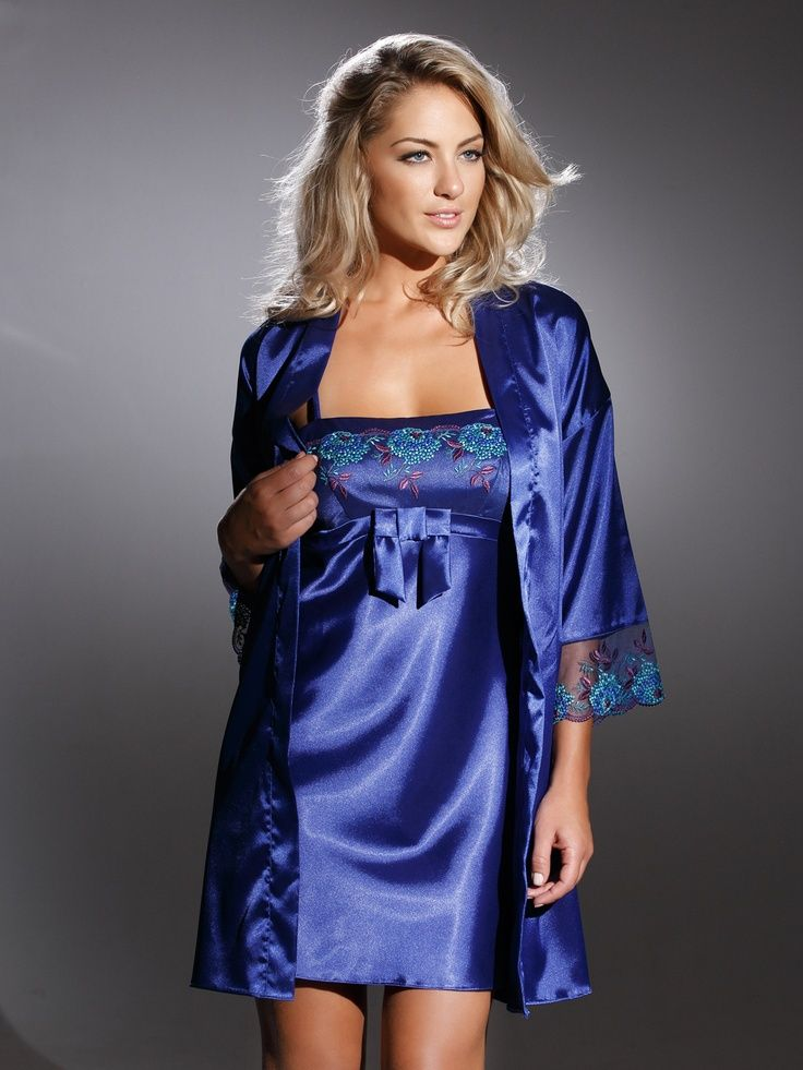 5644551e1c Blue Satin Chemise and Blue Satin Robe