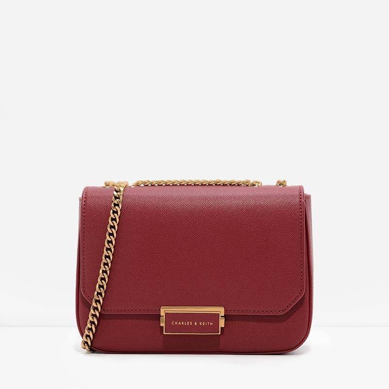 Red Push-Lock Chain Sling Bag | CHARLES & KEITH | Fashion | Pinterest