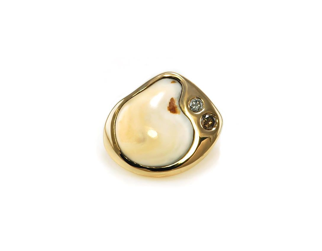 c429deac6221 14K yellow gold tie tack / lapel pin with Round Brilliant cut diamonds and elk  ivory. RG28110