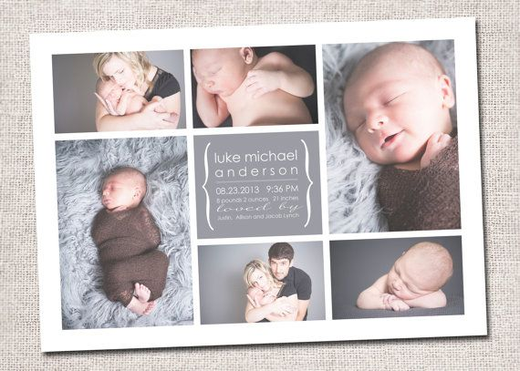 birth announcement template 2 pack 6 photo collage birth