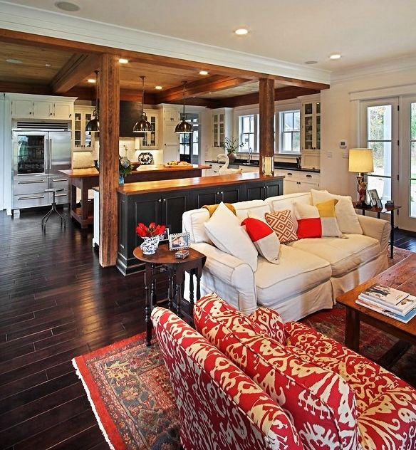 ImpressiveCombinationofWhiteFabricSofawithRedPatterned Stunning Wooden Living Room Exterior