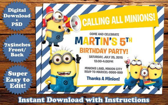 INSTANT DOWNLOAD Minions Birthday Invitation Template Birthday - Birthday invitation photoshop template