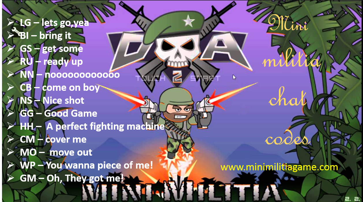 Best Mini Militia Chat Codes Words Commands And Messages Download